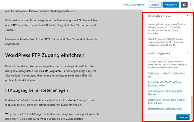 Automatische Link Vorschläge interlinks manager