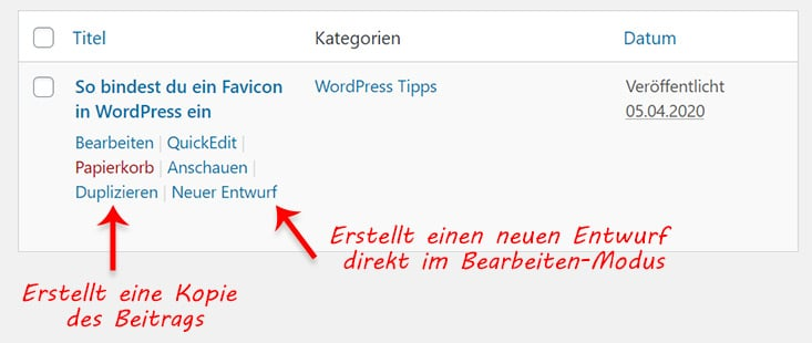 Wordpress beitrag duplizieren