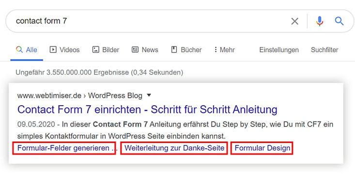 wordpress inhaltsverzeichnis als jump to links in google serps