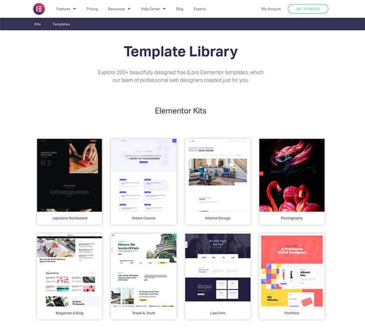 Elementor Template Library Screenshot