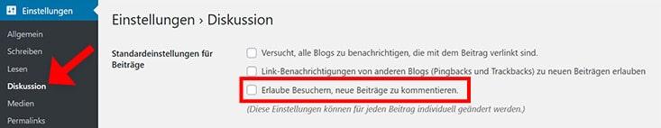 WordPress Kommentare deaktivieren in Einstellungen