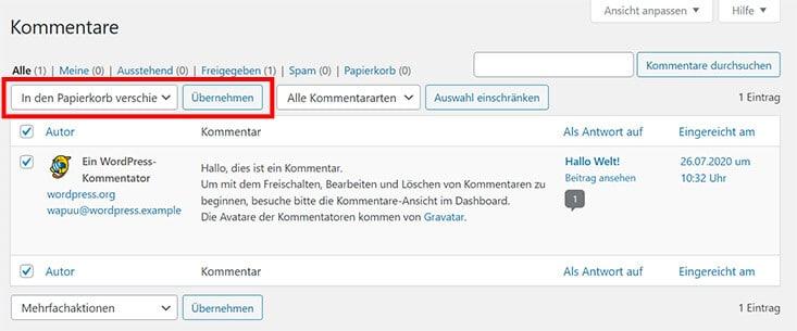 Kommentare in WordPress manuell löschen