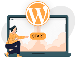 Frau startbutton wordpress lernen