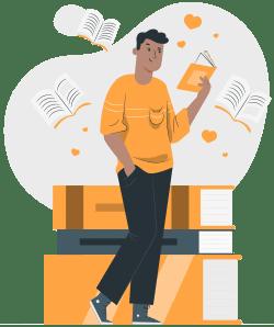 mann liest wordpress bücher