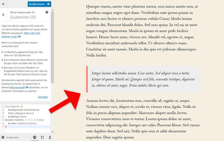 Screenshot: css in WordPress Customizer einfügenn