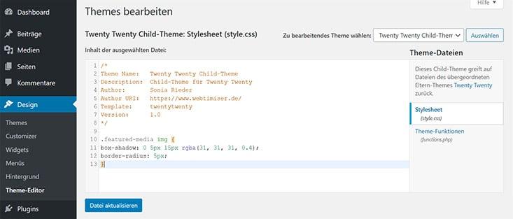 Screenshot CSS im Theme Editor