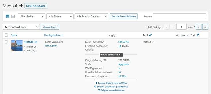 Screenshot WordPress Mediathek