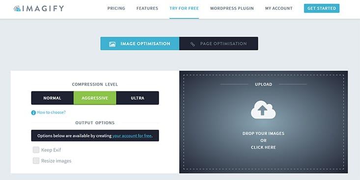 Screenshot Imagify Online Service