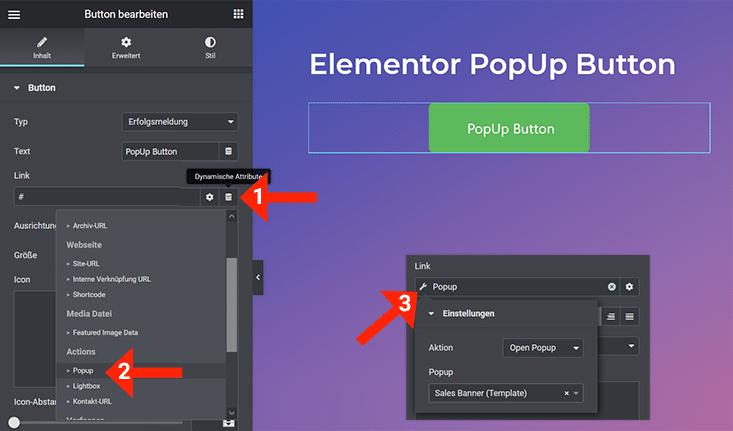 Elementor Popup bei Button Klick öffnen