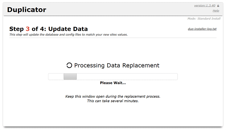 Übernahme der Daten