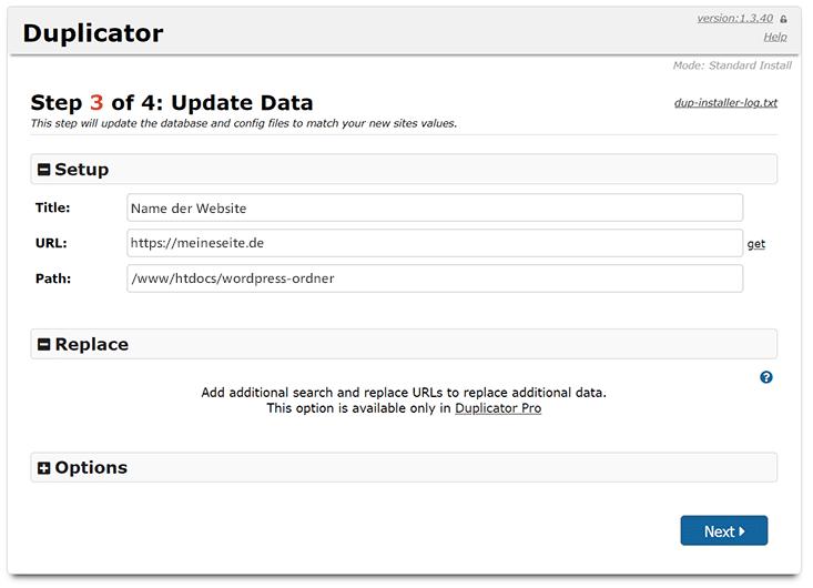 Update der Datenbank