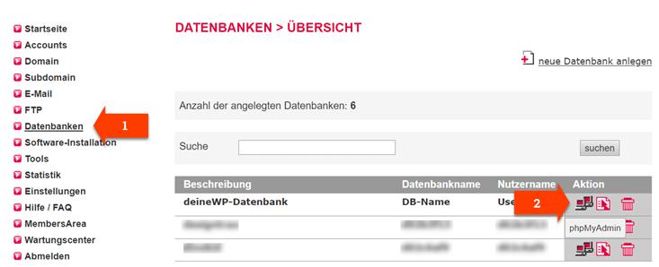 Datenbank Verwaltung bei all inkl.
