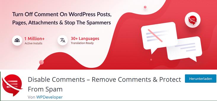 Disable Comments Plugin Version 2.0Abbildung