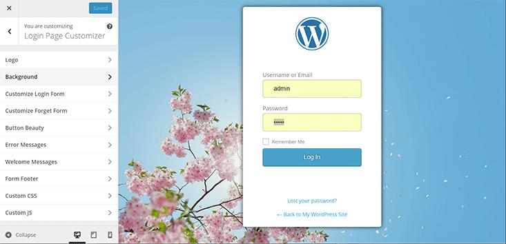 Designbeispiel für individuelle Login-Seite