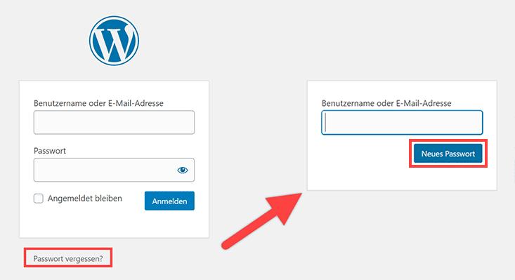 Passwortwiederherstellung im Login-Screen
