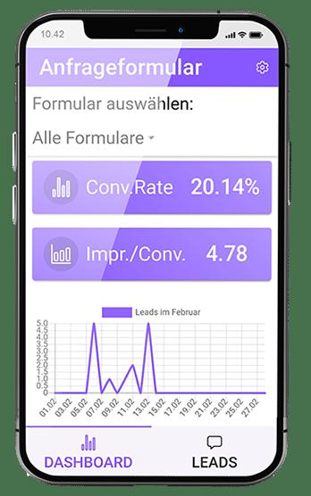 Mobile App für das Anfrageformular