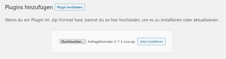Anfrageformular in WordPress installieren