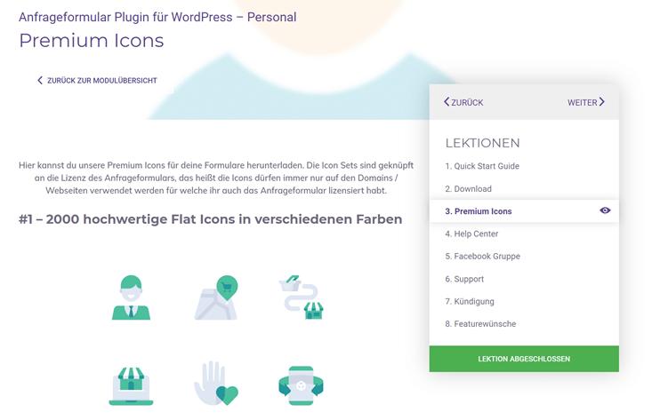 Premium Icons für das Anfrageformular