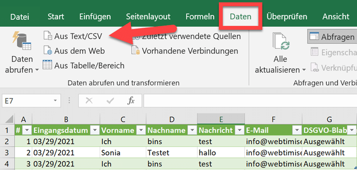 CSV Import in Excel