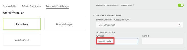 CSS-Klasse für Formular anlegen