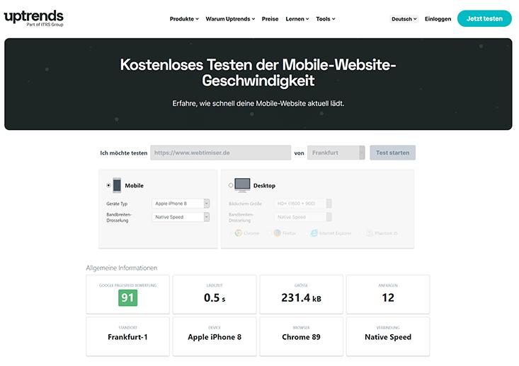 Test der mobilen Website Geschwindigkeit mit Uptrends