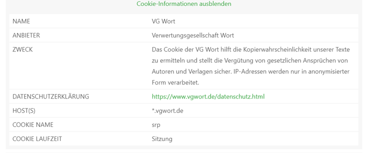 VG Wort Cookie Text in Borlabs