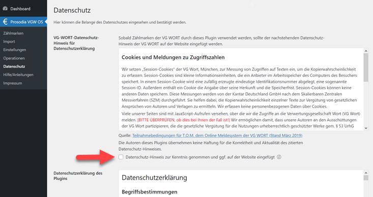 Prosodia Datenschutzerklärung für VG Wort