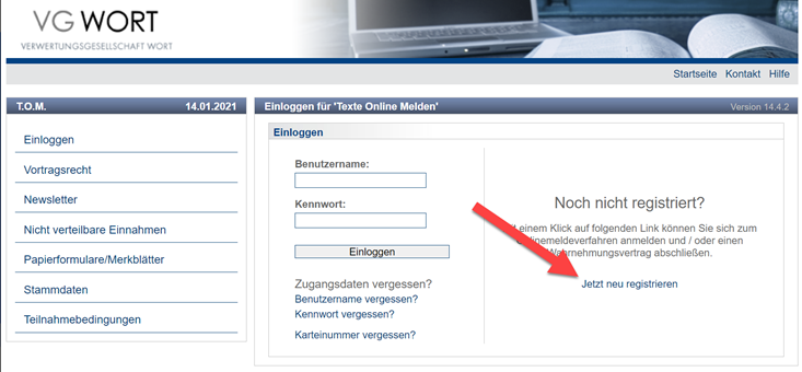 Registrierung bei VG Wort T.O.M.