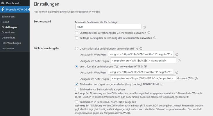 Screenshot Plugin Einstellungen Prosodia
