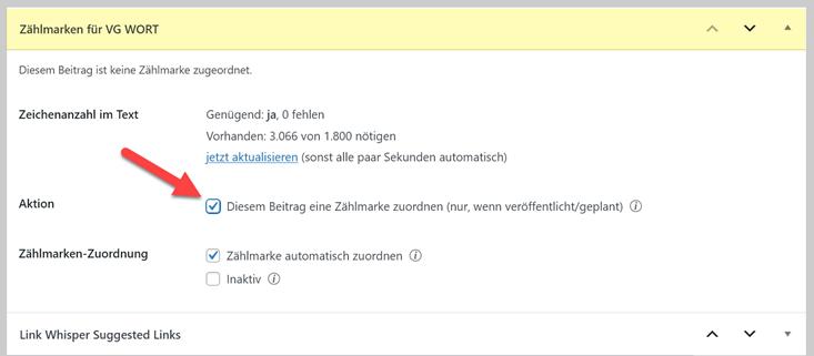 VG Wort Zählmarken einem Beitrag zuordnen