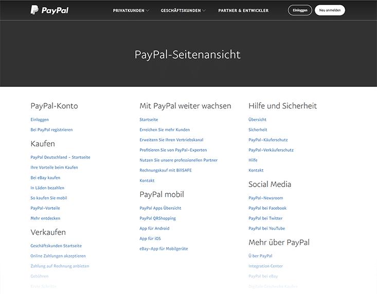 Beispiel einer HTML-Sitemap (paypal)