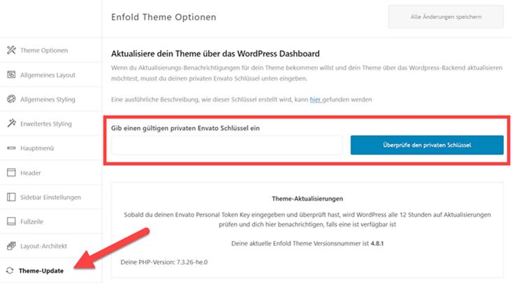 Enfold Theme Updates aktivieren mit Envato Token