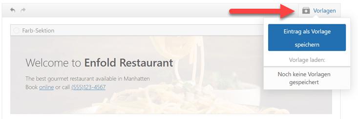 Website als Vorlage speichern