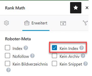 Rank Math Seite auf no-index stellen