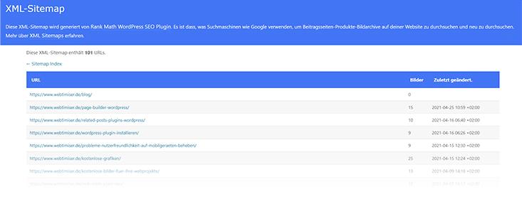 Beispiel XML Sitemap von Rank Math erstellt