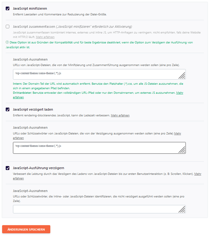 JavaSkript optimieren mit WP Rocket 3.9.5